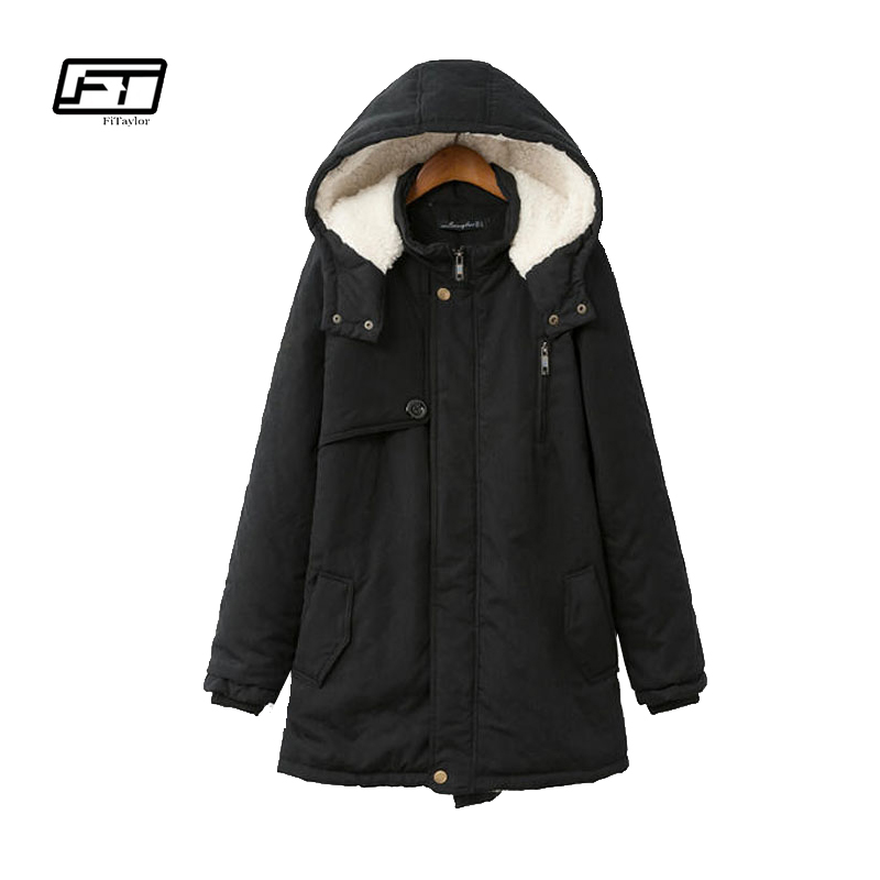 Fitaylor Cotton   Parkas   Lady Hooded Coats 2018 Winter Thick Black Warm Jacket Women Plus Size Loose Female   Parka   Coat Jacket