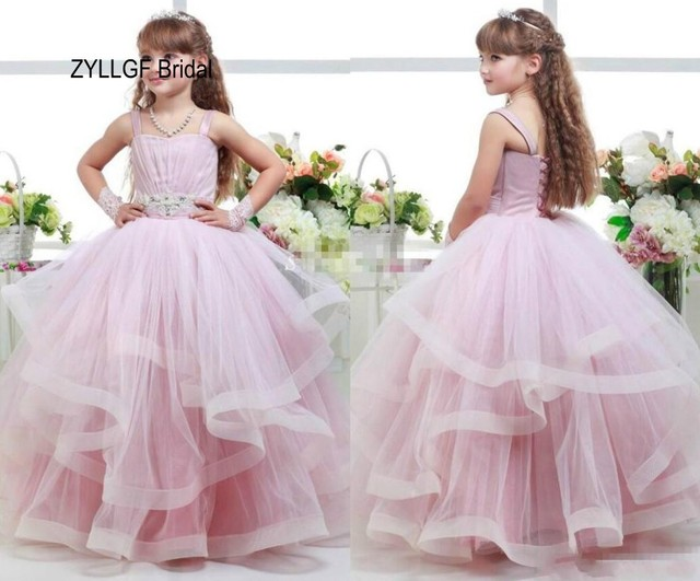 3ba82eb39ad ZYLLGF Bridal Little Girl Ball Gown Flower Girl Dress Long Tulle Kids  Pageant Dresses For 12 Year Olds With Beadings FP15