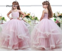 ZYLLGF Bridal Little Girl Ball Gown Flower Girl Dress Long Tulle Kids Pageant Dresses For 12 Year Olds With Beadings FP15