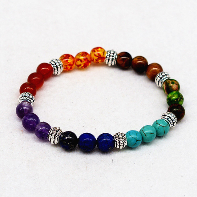 7 Chakra Healing Balance Bracelet Natural Stone Tiger Eye Crystal Color Rainbow Lucky Bead Reiki