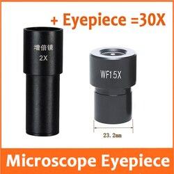2X 30X WF15X 13mm obiektyw szerokokątny okular mikroskop biologiczny nauk medycznych uczniowie laboratorium 23.2mm ze skalą 0.1mm