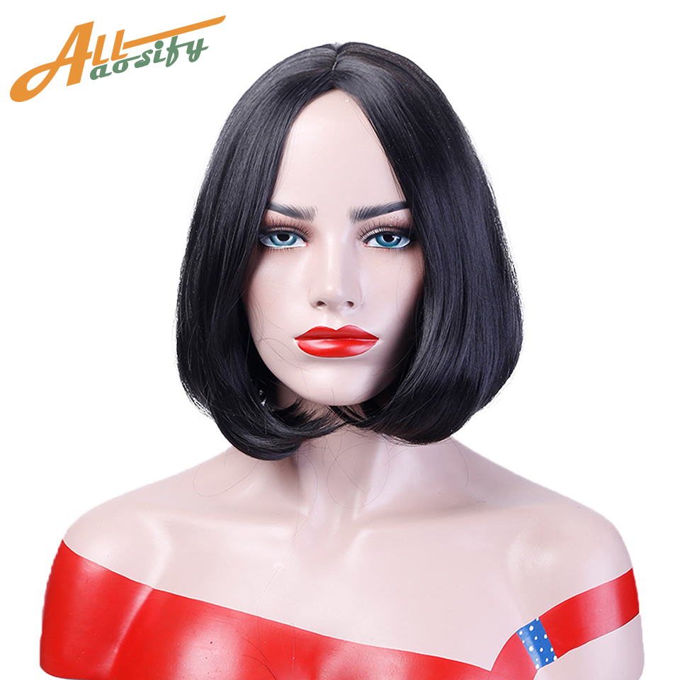 Allaosify Heat Resistant Synthetic Short Straight Bob Wigs for Women Bob Style Full Head Costume Cosplay Wigs