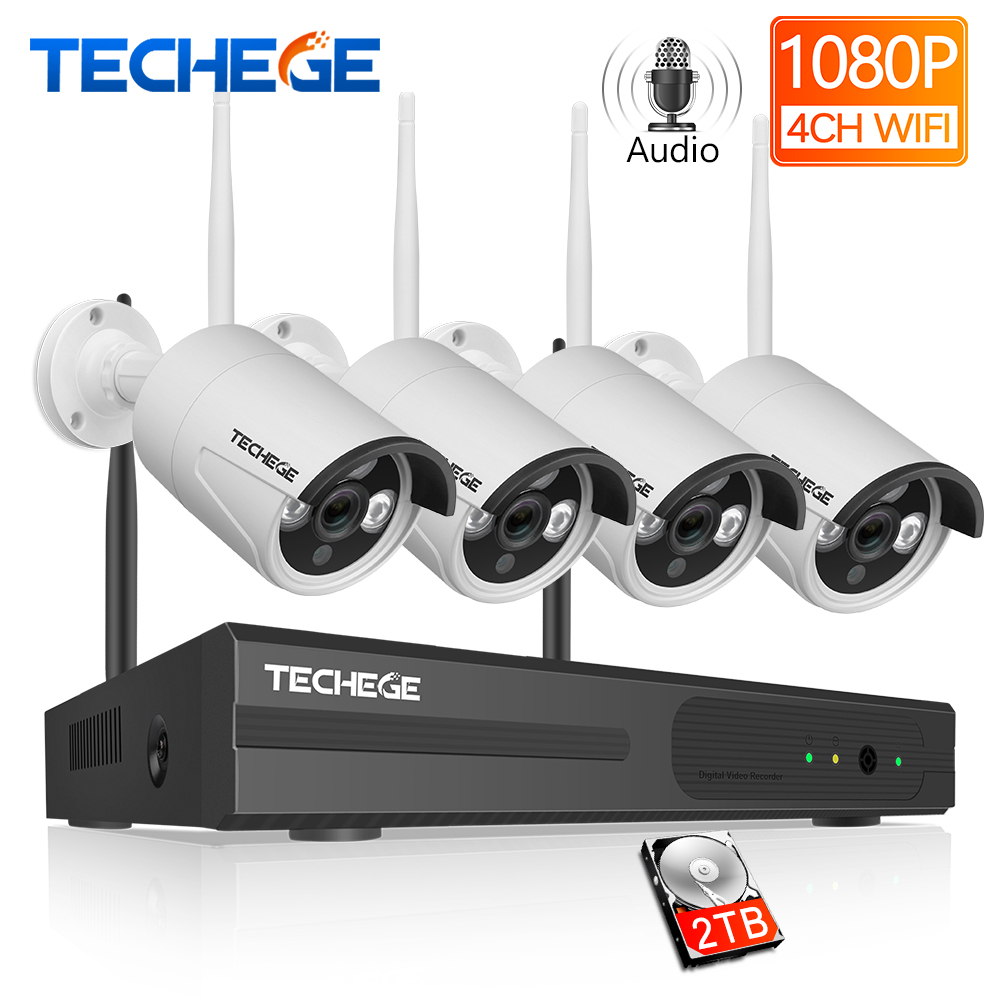 Techege 1080P Wireless CCTV Camera System Audio Record 4CH NVR Home WiFi Security Camera Kits Outdoor
