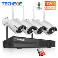 Techege 1080P Drahtlose CCTV Kamera System Audio Record 4CH NVR Startseite WiFi Sicherheit Kamera Kits Outdoor Video Überwachung System