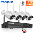 Techege 1080P Draadloze CCTV Camera Systeem Audio Record 4CH NVR Thuis WiFi Security Camera Kits Outdoor Video Surveillance Systeem