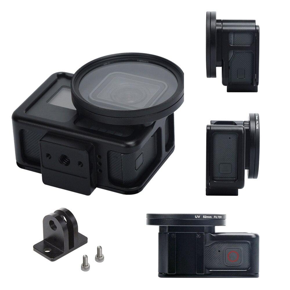 For Gopro Hero 7 Aluminum Housing Shell Cage Frame 52mm UV Lens Filter Protect Case Bracket