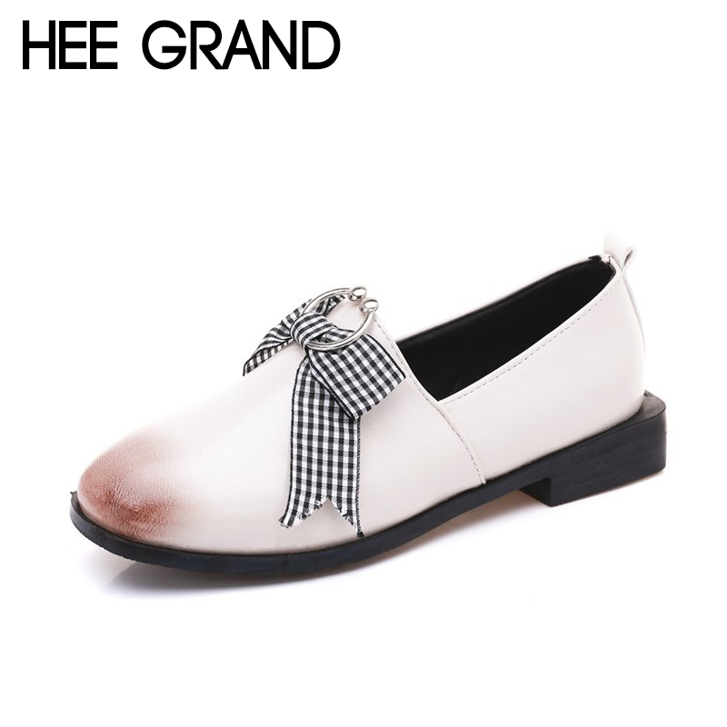 HEE GRAND 2018 New Arrival Spring Shoes Butterfly-knot Ring Decoration Women Causal Fashion British Oxfords Style Shoes XWD6375 hee grand 2018 new fashion flats shoes women oxfords faux fur pu leather solid mother causal slip on british style shoes xwd6955
