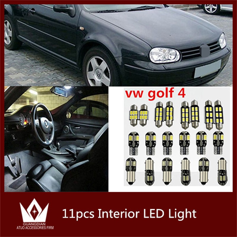 Tcart 11pcs Error Free White Car Interior Light Auto Led Bulb Kit For Volkswagen VW Golf 4 mk4 Accessories Reading Indoor Lights 10pcs led car interior bulb canbus error free t10 white 5730 8smd led 12v car side wedge light white lamp auto bulb car styling