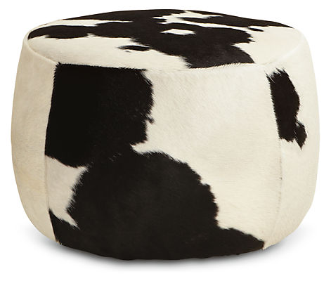 Black Amp White Buff Brown Cowhide Round Ottomans In Stools