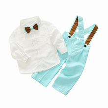 toddler clothing set for boys formal clothes baby long-sleeve shirt with bow tie + blue/green pants children party clothes
