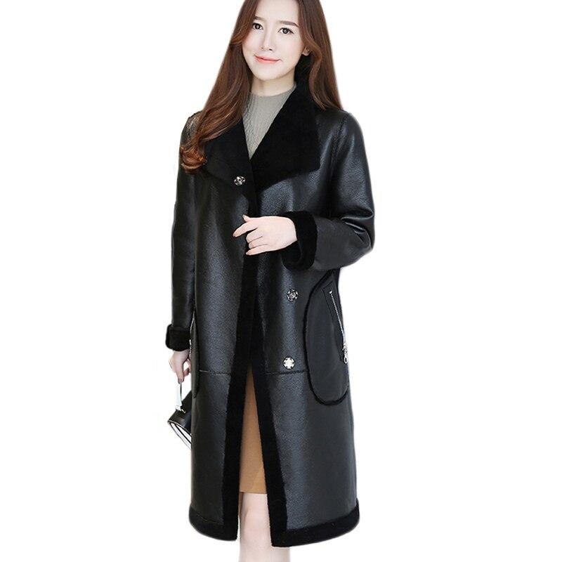 Leather Jacket Lamb Fur Liner Wool Coat Women Winter Overcoat Double-Sided Wear Lambwool Leather Thick Warm Fur Outwear QW727