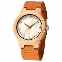 LEFTLY Men's Bamboo Wooden Watch with Cowhide Leather Strap lightweight Quartz M