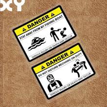 XY-etiqueta adhesiva con pez de advertencia divertida, pegatinas de coche de pesca al aire libre para velero, barco, barco, etc.