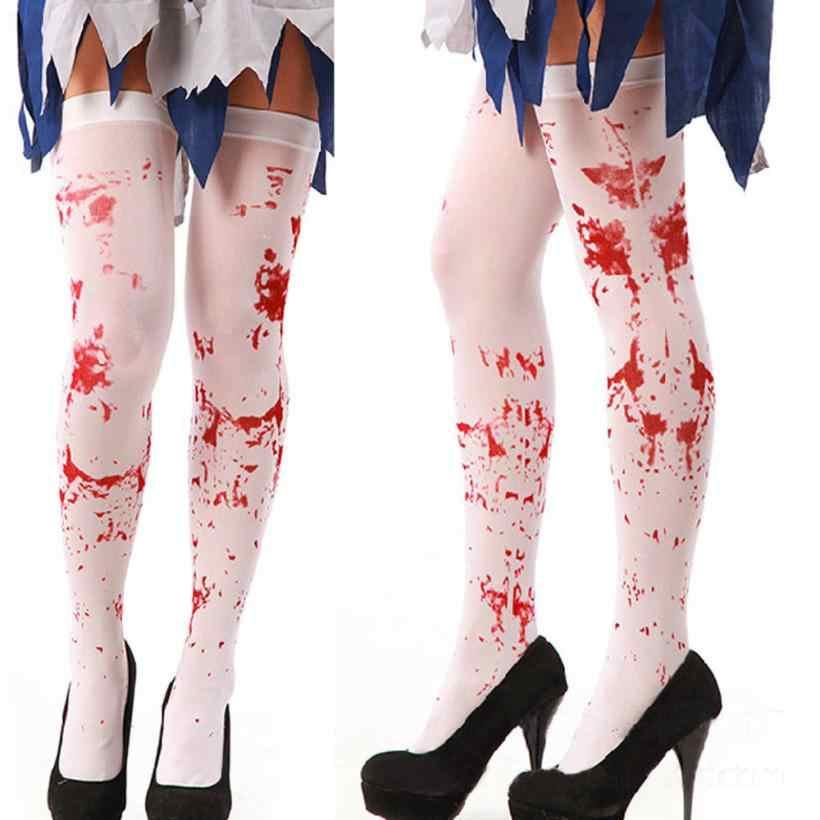 Snowshine Ylwx Wanita Horor Putih Pesta Halloween Berdarah Perawat Mewah Kaus Kaki Panjang