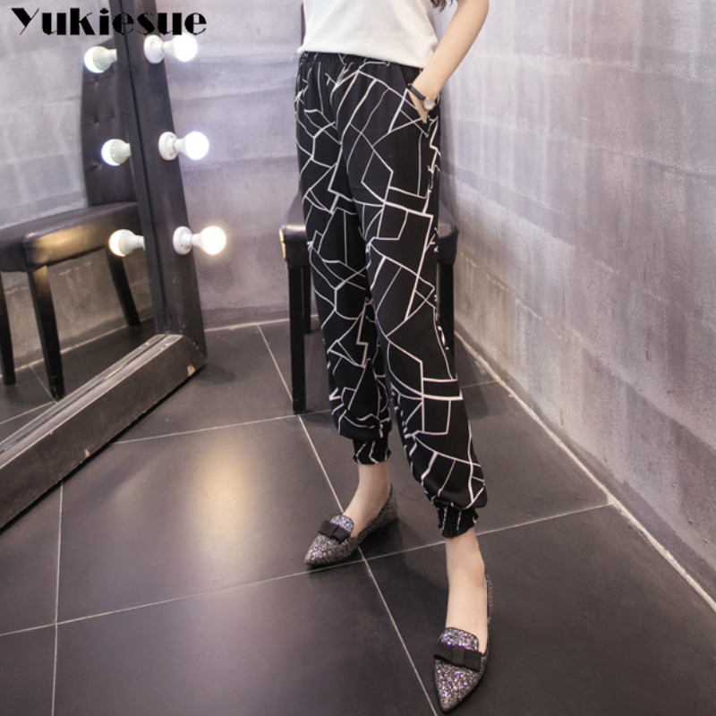 streetwear black printed women's   pants     capris   with high waist harem   pants   for women trousers woman   pants   female Plus size