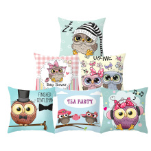 45*45 CM Cartoon Cushion Cover Print Owl Family Pillow Case Polyester Cotton Pillowcase for Decoration Home Pillows