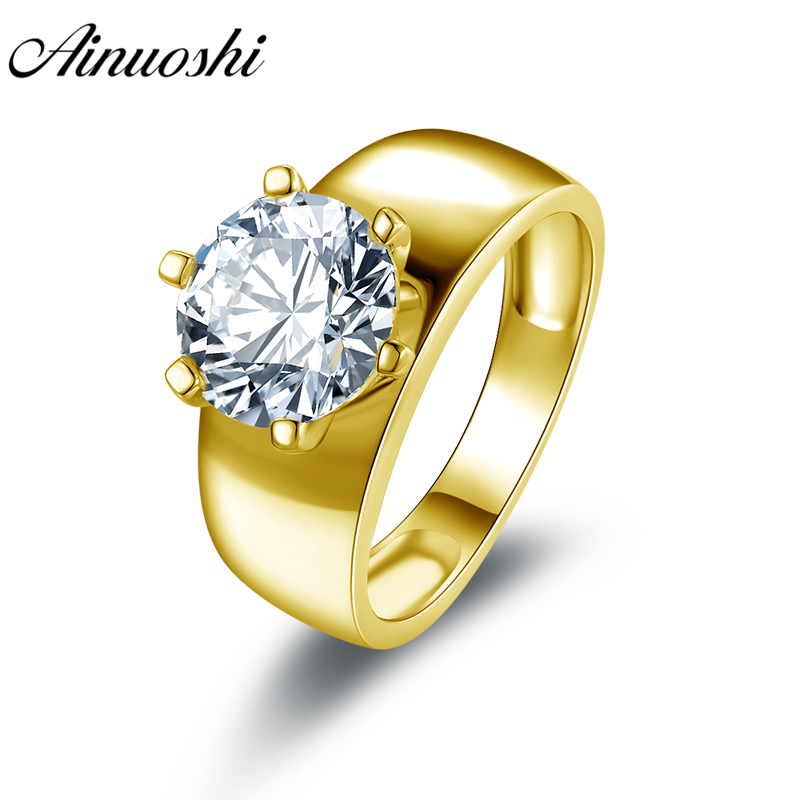 AINUOSHI Luxury Wide Band Solitaire Round Ring 14K Solid White Yellow Gold Anillo SONA Diamond Women