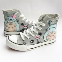 High Q Unisex Tonari no Totoro plimsolls canvas shoes rope soled shoes Cos My Neighbor Totoro Casual Daily Hand painted shoes