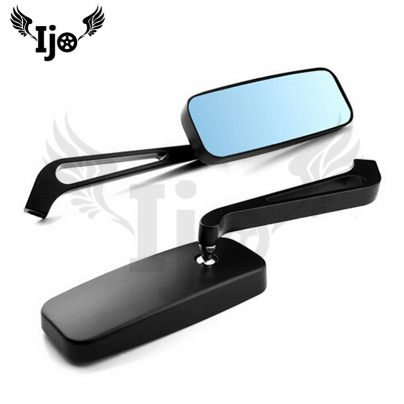 top quality rectangle black scooter accessories 10MM 8MM screw unviersal motorcycle side mirror for harley moto rearview mirror