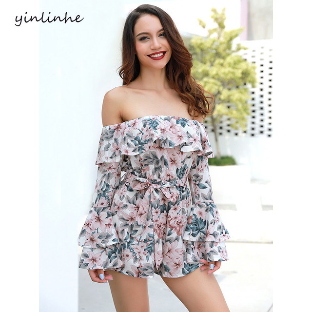 yinlinhe Off Shoulder Playsuit Summe Long Sleeve Flare Sexy Short Jumpsuit women rompers Sash Bow Floral Ruffles Overalls    243