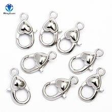 Ganchos de lagosta para fazer joia, fecho de prata antiga 2.2x1.2cm, coração para colar, pulseira, acessórios para fazer jóias com 10 peças faça você mesmo