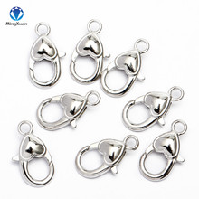 MINGXUAN 10pcs/lot 2.2x1.2cm Antique Silver Heart Lobster Clasp Hooks For Necklace Bracelet Chain DIY Jewelry Accessory Findings 10pcs antique silver plum blossom lobster clasp hooks for diy jewelry necklace bracelet chain connectors lobster clasp findings
