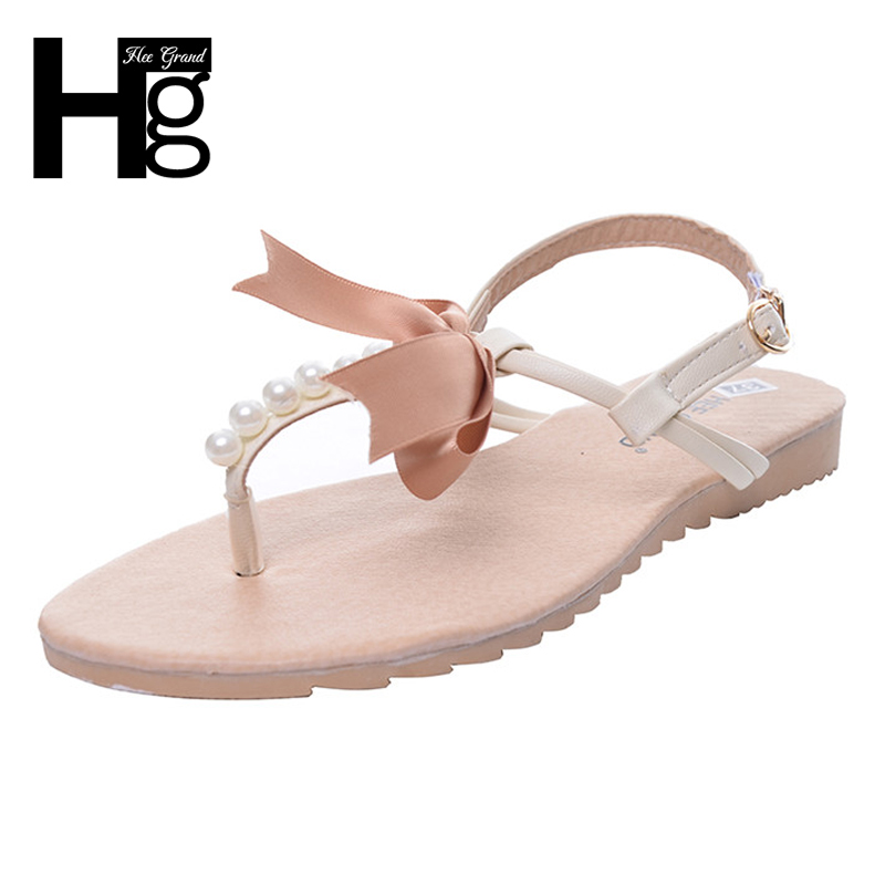 HEE GRAND Summer Flip Flops Bowtie Sandals Artificial Pearl Shoes Woman Buckle Women Shoes Plus Size 35-43 XWZ3299 hee grand gladiator sandals summer style flip flops elegant platform shoes woman pearl wedges sandals casual women shoes xwz1937