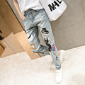 New 2017 women jeans cartoon painted ripped denim Long pencil pants , jeans for women