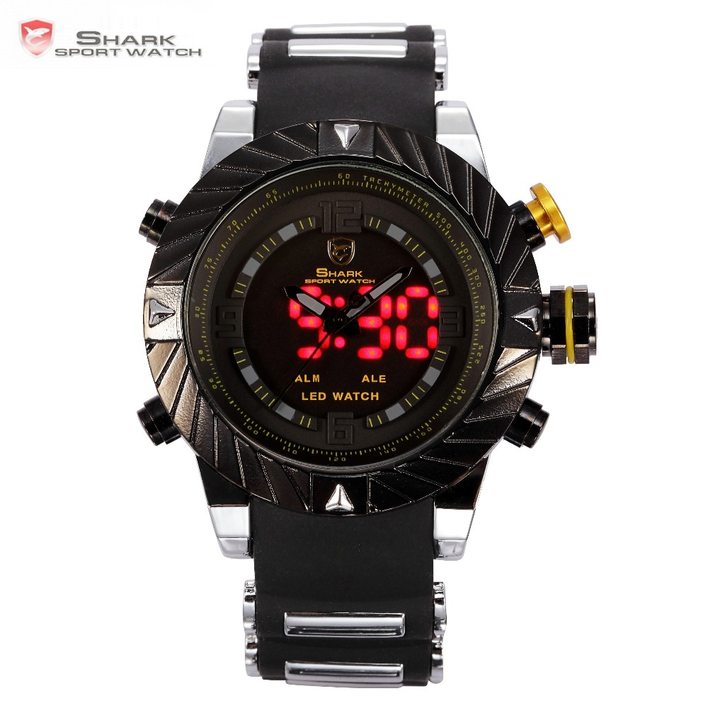 Luxury Goblin Shark Sportsklocka Man Utomhus Mode Digital LED Multifunktion Vattentät Armbandsur Relogio Masculino / SH168