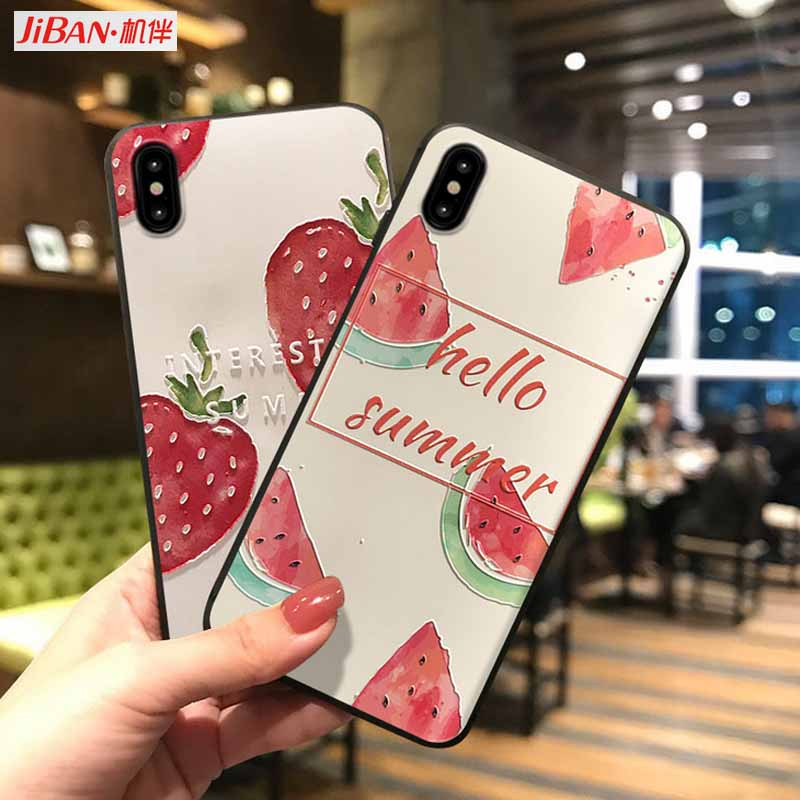 JIBAN Embossed painted strawberry Protective cover for iphone X XR XS MAX 6s 6 plus 7 8plus oppo r15 r17 vivo x20 x21 x23 Cases