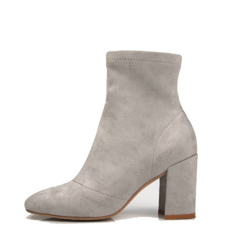 ФОТО Women Sexy Ankle Boot Autumn Winter Genuine Leather Suede High Heels Martin Booties Elegant Chunky Square Heels Zip Shoes