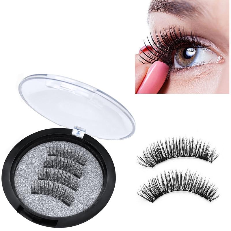 2 Magnet 3D Magnetic Eyelashes Magnet Lashes Thicker Reusable False Eyelashes Handmade No Glue Eye Lashes Makeup Kit 4pcs/pair