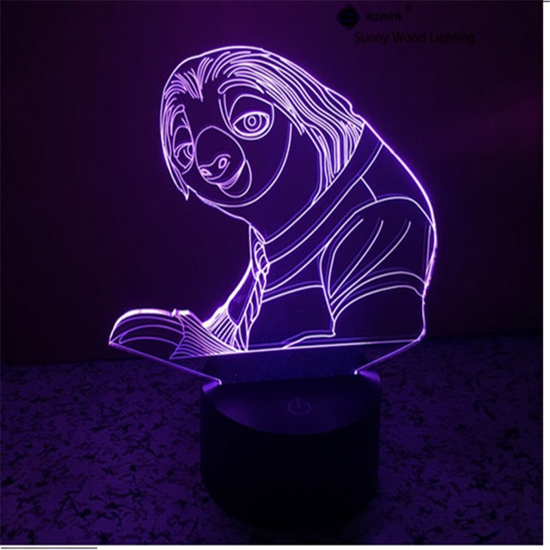 Bradypod switch LED 3D lamp,Visual Illusion 7color changing 5V USB for laptop,Christmas cartoon toy lamp