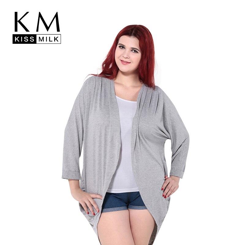 Kissmilk 2017 Плюс Размер Лето Женщины Свободные Большой Размер Кимоно Кардиган Блузка 3XL 4XL 5XL 6XL