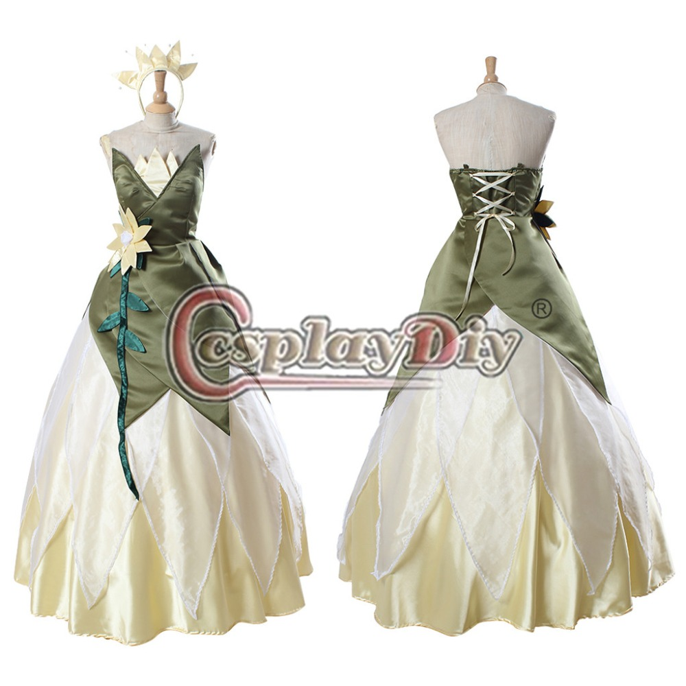 Custom Made Tiana Prncess Dress The Princess and the Frog Princess Dress Adult Cosplay Costume D0318