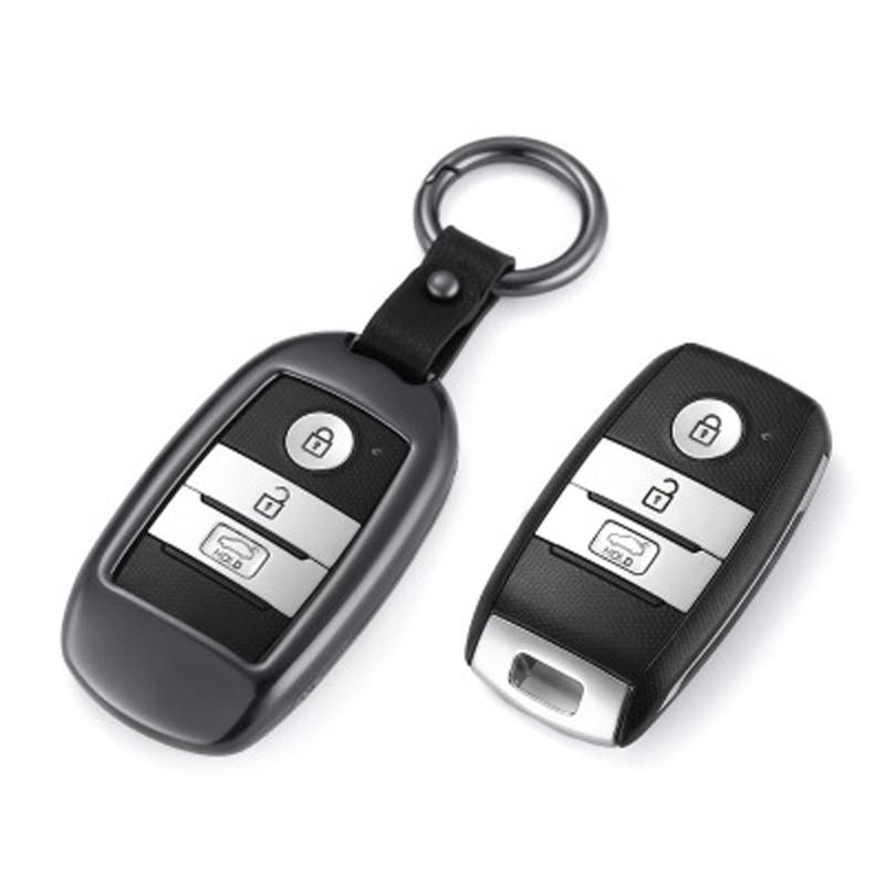 Pour KIA alliage d'aluminium + cuir porte-clés voiture Smart porte-clés voiture couverture de clé pour KIA Optima K2 K3 K4 K5 Sportage voiture style