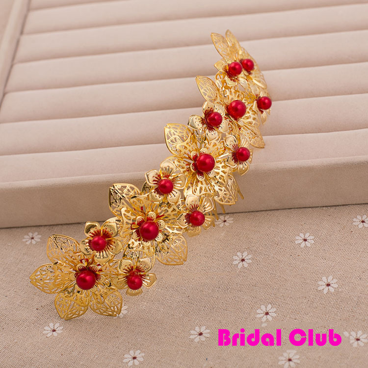 HIMSTORY New beautiful Flower Costume Bride Chinese style Gold Hair Comb Tiaras Wedding jewelry Wedding hair accessories in Hair Jewelry from Jewelry Accessories