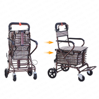 Can Sit and Push Four Rounds To Buy Food Small Cart Seat Folding Step Shopping Cart Old Cart Double Universal Wheel Metal Basket