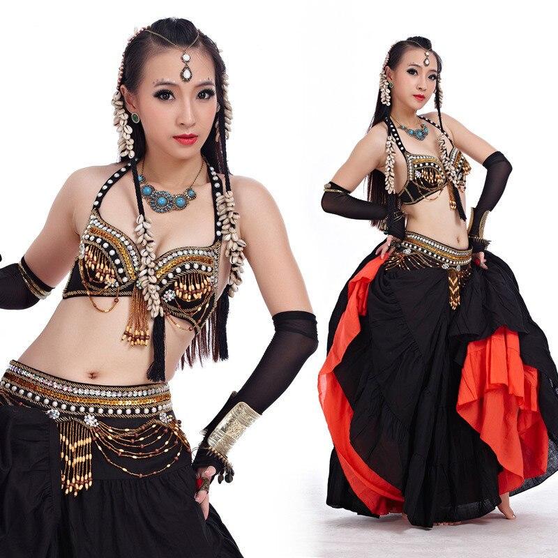 7c21cc0b027 Живота Танцы костюм 2 шт. бюстгальтер и пояс индийские Танцы женщин Танцы R  комплект одежды живота Танцы одежда 3 цвета для выбор 858