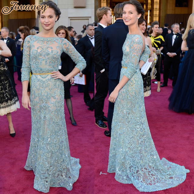 Elie Saab Sexy Mint Green Alicia Vikander Boat Neck See Through Lace Celebrity Dress Women Evening