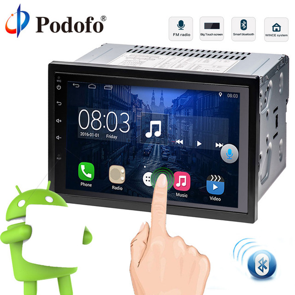 "Podofo 2 Din car radio Android 7"" GPS Navigation Car Multimedia Player 2din Car Audio stereo Bluetooth Backup Camera For Nissan"