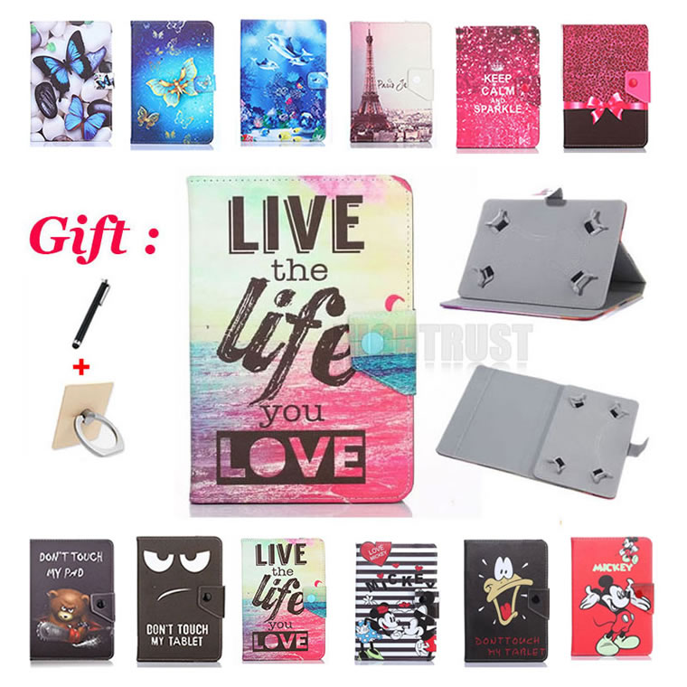 Universal 7 inch Cartoon Pu Leather Stand Case For Navitel T500 T700/T757 LTE/A735 A737 3G 7 Tablet Cover + 2 Gifts image