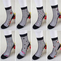 10pcs Lot Women Girls Summer Transparent Lace Grid Glass Crystal Cool Mesh Knit Silk Socks