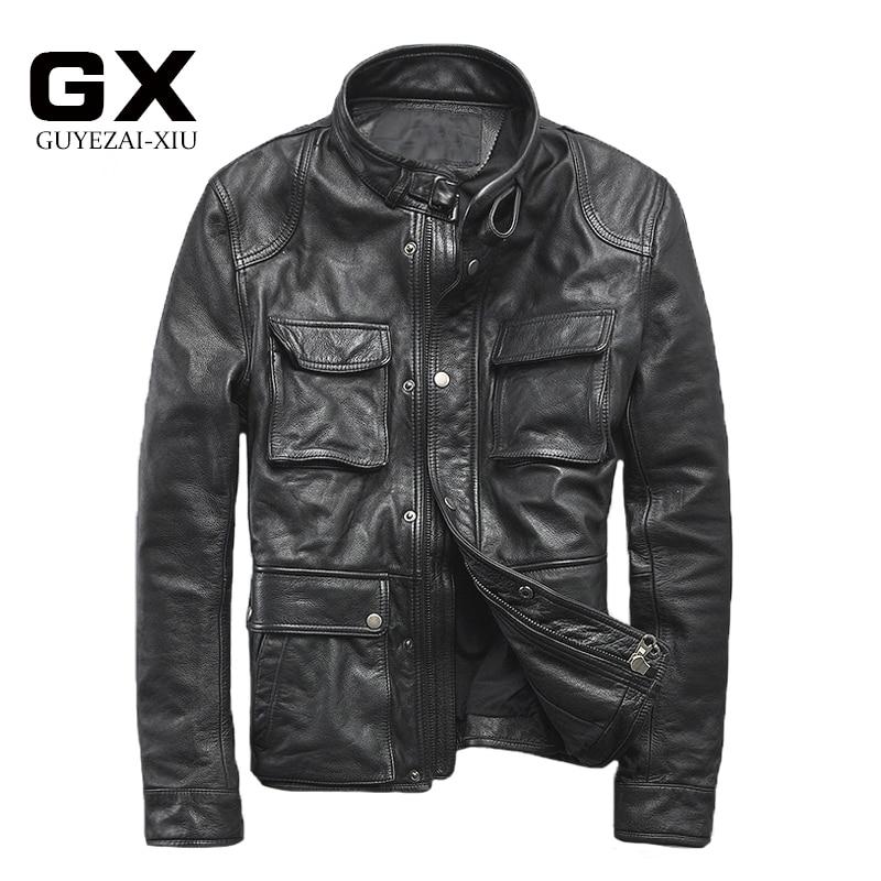 2017 New Men's Genuine Leather Jackets Black Soft Cowhide Medium Long style Casual Jacket men Winter Coats S-XXXL