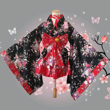 Fashion National Trends Kids Girls Sexy Kimono Yukata With Obi Novelty Lolita Dress Japanese Cosplay Costume Floral kimono mujer(China)