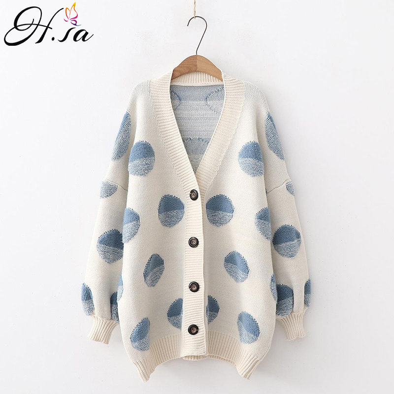 H.SA Women Long Sweater And Cardigans Knit Jackets Oversized Sweaters Ponchoes Button Dots Loose Female Cardigans 2019 Winter