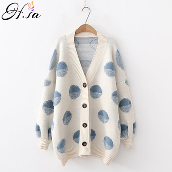 H.SA Women Long Sweater and Cardigans Knit Jackets Oversized Sweaters Ponchoes Button Dots Loose Female Cardigans 2019 Winter фото