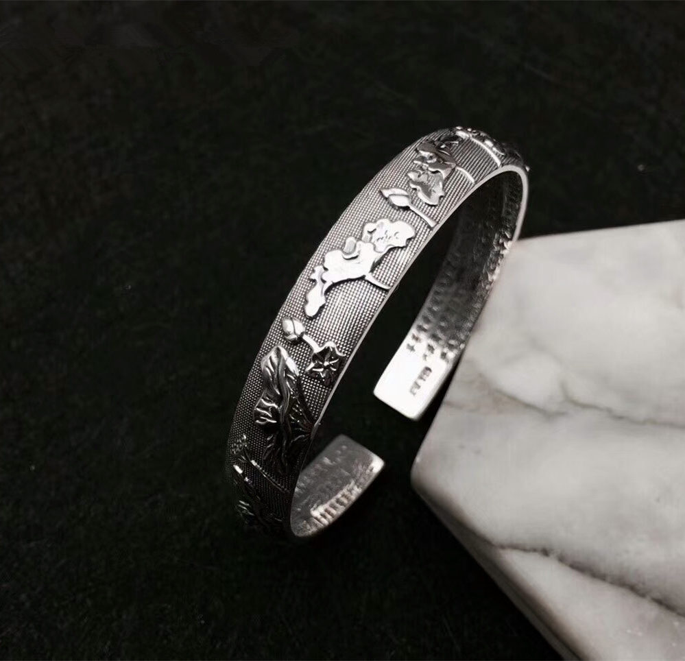 Solid Fine Silver 990 Vintage Lotus Cuff Bangle Bracelet For Women Engraved Buddhist Sutra Handmade Stylish Fine Silver Jewelry vintage carved metal tibetan silver cuff bracelet bangle for women