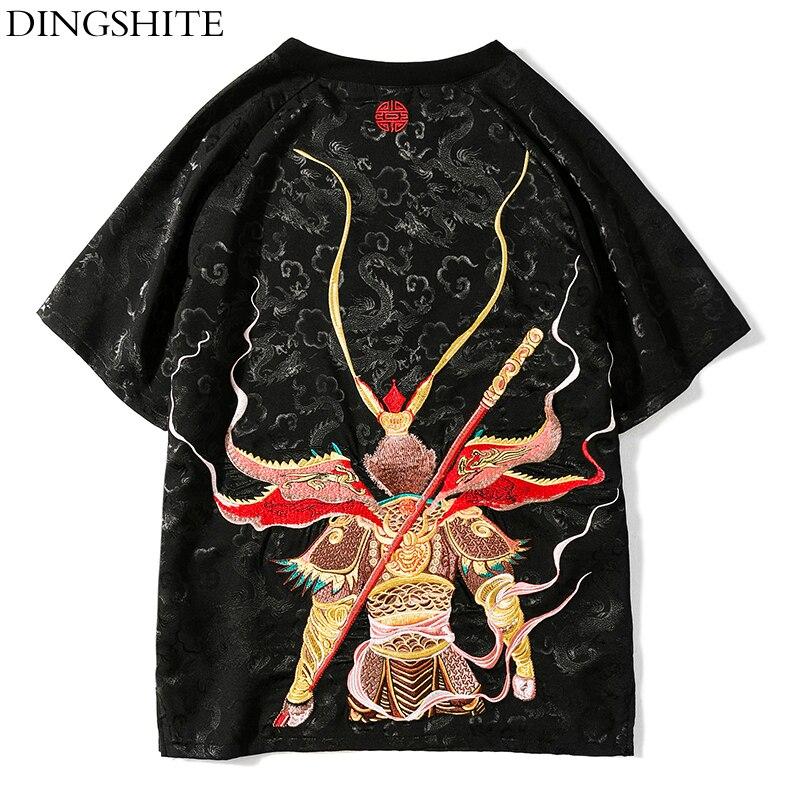 DINGSHITE Style Chinois D'origine Sun Wukong Rétro Dragon Lumière hommes Marée T-shirt