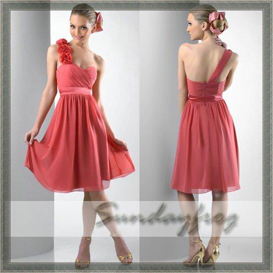 Free shipping custom made tea length chiffon a line one for One shoulder tea length wedding dress